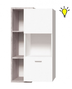 Závěsná vitrína Vulcano L/P s osvětlením - dub / bílá