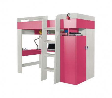 Vyvýšená postel s pc stolem a skříní Adéla  růžová