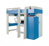 Vyvýšená postel s pc stolem a skříní Adéla - jasan/modrá