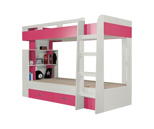 Patrová postel Adéla - jasan/růžová