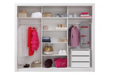Šatní skříň Angelika s posuvnými dveřmi a kontejnerem I - bílá