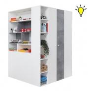 Velká šatní skříň Omega s osvětlením - bílá/beton