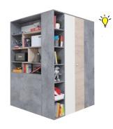 Velká šatní skříň Omega s osvětlením - bílá/dub/beton