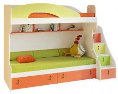 Dětská patrová postel Aurora II 90x200cm, levá - výběr odstínů
