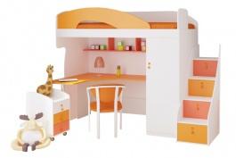 Dětská vyvýšená postel Aurora 90x200cm, levá - výběr odstínů