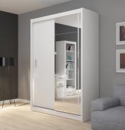 Šatní skříň Josette I s posuvnými dveřmi a zrcadlem - bílá