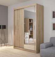 Šatní skříň Josette I s posuvnými dveřmi a zrcadlem - dub san remo