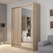 Šatní skříň Josette I s posuvnými dveřmi a zrcadlem - dub sonoma