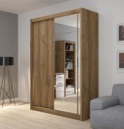 Šatní skříň Josette I s posuvnými dveřmi a zrcadlem - ořech