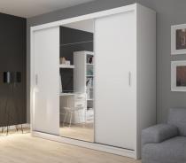 Šatní skříň Josette III s posuvnými dveřmi a zrcadlem - bílá