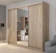 Šatní skříň Josette III s posuvnými dveřmi a zrcadlem - dub sonoma