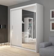 Šatní skříň Josette II s posuvnými dveřmi a zrcadlem - bílá