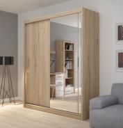 Šatní skříň Josette II s posuvnými dveřmi a zrcadlem - dub san remo