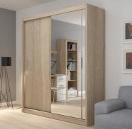 Šatní skříň Josette II s posuvnými dveřmi a zrcadlem - dub sonoma