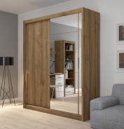 Šatní skříň Josette II s posuvnými dveřmi a zrcadlem - ořech