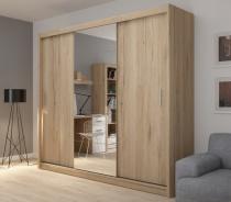 Šatní skříň Josette III s posuvnými dveřmi a zrcadlem - dub san remo