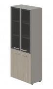 Kombinovaná skříň Lorenc 4D - šedá/sklo/driftwood