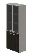 Kombinovaná skříň Lorenc 4D - šedá/sklo/wenge