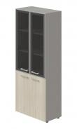 Kombinovaná skříň Lorenc 4D - šedá/sklo/akát světlý