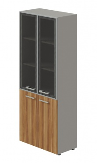 Kombinovaná skříň Lorenc 4D - šedá/sklo/ořech