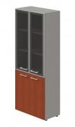 Kombinovaná skříň Lorenc 4D - šedá/sklo/višeň