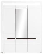 Třídveřová šatní skříň Irma se zrcadlem - bílá / wenge