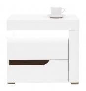 Noční stolek Irma, pravý - bílý / wenge