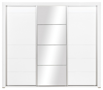 Šatní skříň Irma se zrcadlem a posuvnými dveřmi - bílá