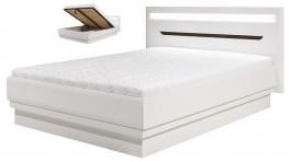 Manželská postel Irma 180x200cm s úložným prostorem - bílá / wenge
