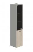 Skříň kombinovaná Lorenc 2D levá - šedá/sklo/akát