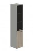 Skříň kombinovaná Lorenc 2D levá - šedá/sklo/driftwood
