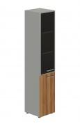 Skříň kombinovaná Lorenc 2D levá - šedá/sklo/ořech