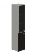 Skříň kombinovaná Lorenc 2D levá - šedá/sklo/wenge