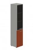 Skříň kombinovaná Lorenc 2D levá - šedá/sklo/višeň