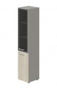 Skříň kombinovaná Lorenc 2D pravá - šedá/sklo/akát
