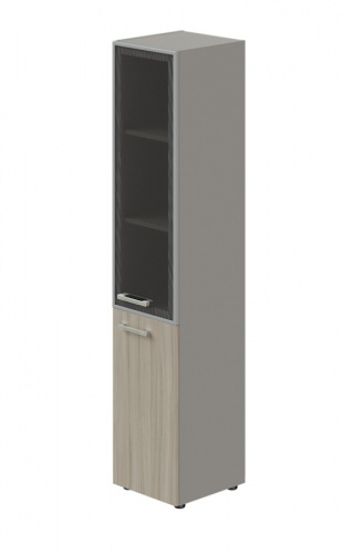 Skříň kombinovaná Lorenc 2D pravá - šedá/sklo/driftwood