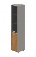 Skříň kombinovaná Lorenc 2D pravá - šedá/sklo/ořech