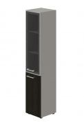 Skříň kombinovaná Lorenc 2D pravá - šedá/sklo/wenge