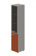 Skříň kombinovaná Lorenc 2D pravá - šedá/sklo/višeň