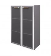Skříňka 2D Lorenc - šedá/sklo