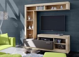 **Obývací stěna FLOKS sonoma/grafit