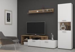 Obývací stěna JUING bílá/dub lancelot