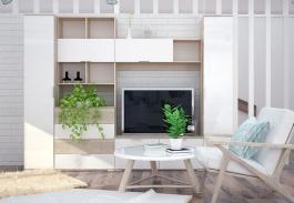 Obývací stěna TERRA I sonoma/bílá lesk