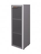 Skříňka Lorenc 120cm pravá - šedá/sklo