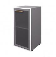 Skříňka Lorenc 80cm pravá  - šedá/sklo