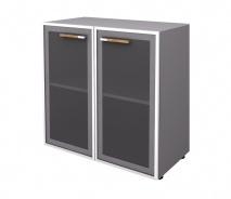 Skříňka nízká Lorenc 2D - šedá/sklo