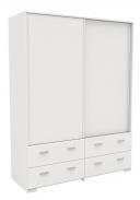 Šatní skříň Space s posuvnými dveřmi - bílá