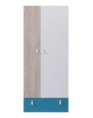 Šatní skříň studentská Saturn - modrá / bílá / dub