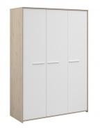 Třídveřová šatní skříň Josephine - dub jackson / bílá