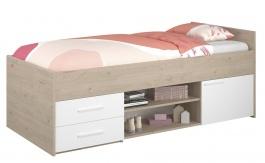 Dětská postel Josephine 90x200cm s úložným prostorem - dub jackson / bílá